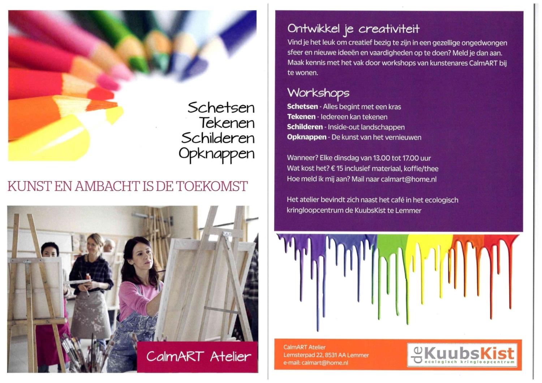 Flyer creatieve workshops kringloopwinkel Lemmer